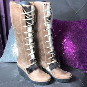 Authentic Juicy Couture lace up wedge boots!